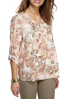 Alfred Dunner Just Peachy Floral Print Woven Top