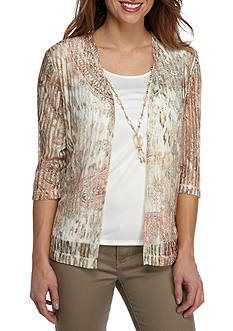 Alfred Dunner Just Peachy Paisley Skin Print Knit Top