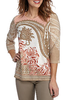 Alfred Dunner Just Peachy Paisley Knit