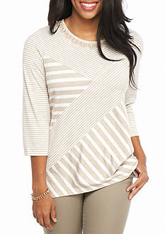 Alfred Dunner Just Peachy Spliced Stripe Knit Top
