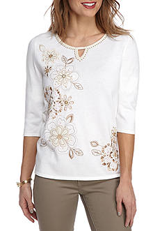 Alfred Dunner Just Peachy Stripe Border Sweater