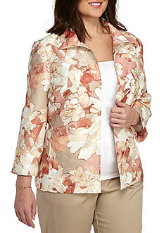 Alfred Dunner Plus Just Peachy Floral Jacket