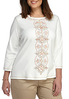 Alfred Dunner Plus Just Peachy Center Embroidery Top