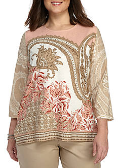 Alfred Dunner Plus Just Peachy Paisley Knit