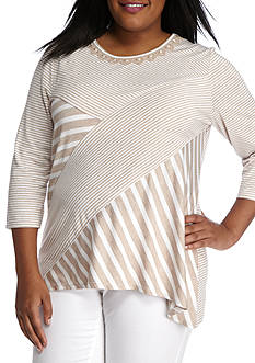 Alfred Dunner Plus Just Peachy Stripe Tunic
