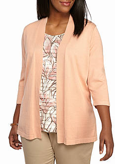 Alfred Dunner Plus Size Just Peachy Leaves 2Fer Sweater