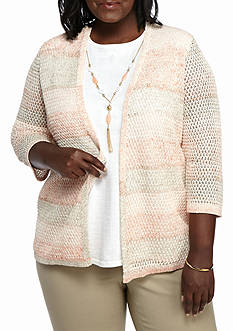 Alfred Dunner Plus Size Just Peachy Stripe Texture 2Fer Sweater
