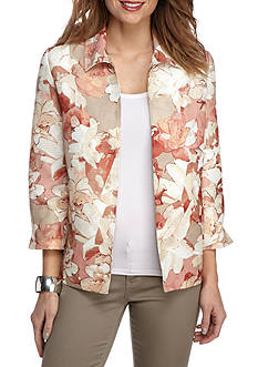 Alfred Dunner Petite Just Peachy Floral Texture Jacket