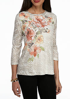 Alfred Dunner Petite Just Peachy Floral Knit Top