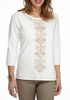 Alfred Dunner Petite Just Peachy Center Embroidery Top
