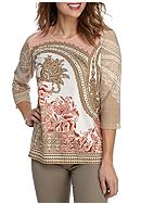 Alfred Dunner Petite Just Peachy Paisley Knit