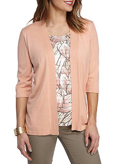 Alfred Dunner Petite Just Peachy Leaves 2Fer Sweater