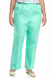 Alfred Dunner Plus Size Warm Weather Mint to Be Proportioned Regular Pant