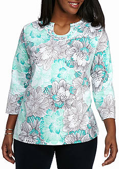Alfred Dunner Plus Size Warm Weather Mint to Be Horseshoe Knit Top