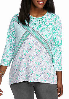Alfred Dunner Plus Size Warm Weather Mint to Be Patchwork Knit Top