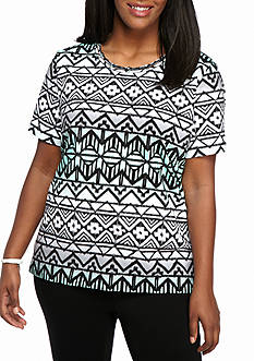 Alfred Dunner Plus Size Warm Weather Mint to Be Biadere Geo Knit top