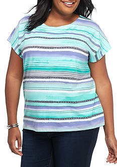 Alfred Dunner Plus Size Mint to Be Brush Stript Knit Top