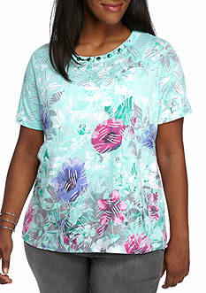 Alfred Dunner Plus Size Warm Weather Mint to Be Border Floral Knit Top