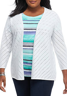 Alfred Dunner Plus Size Mint To Be Pointelle Cardigan