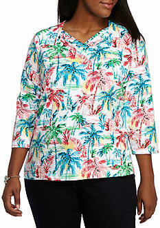 Alfred Dunner Plus Size Warm Weather Tropical Vibe Palm Tree Knit Top