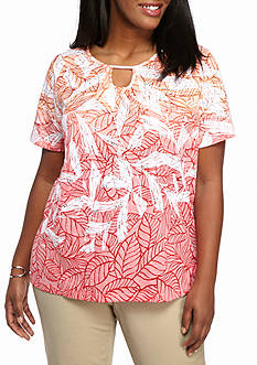 Alfred Dunner Plus Size Warm Weather Tropical Vibe Ombre Top