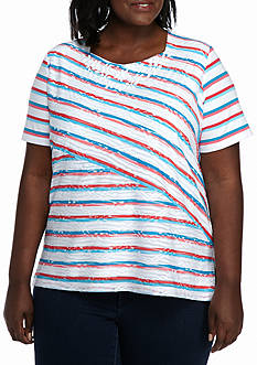 Alfred Dunner Plus Size Warm Weather Tropical Vibe Splice Stripe Knit Top