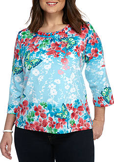 Alfred Dunner Warm Tropical Vibe Floral Border Knit
