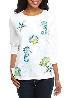 Alfred Dunner Cable Beach Scene Knit