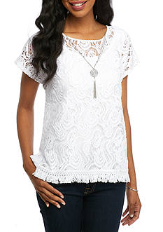 Alfred Dunner Cable Beach Lace with Fringe Knit