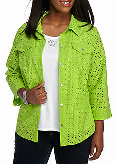 Alfred Dunner Plus Cable Beach Eyelet 2Fer
