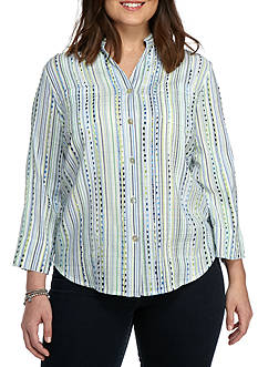 Alfred Dunner Plus Warm Cable Beach Stripe Woven
