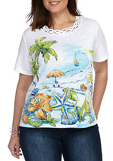 Alfred Dunner Plus Cable Beach Scenic Knit Top