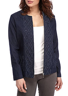 Alfred Dunner Scenic Route Diamond Texture Denim Jacket