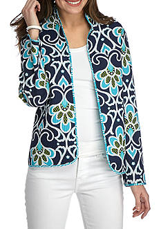 Alfred Dunner Scenic Route Scroll Reverse Quilted Blazer