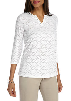 Alfred Dunner Scenic Route Lace Texture Knit Top