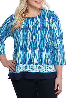 Alfred Dunner Plus Scenic Route Ikat Border Knit Top