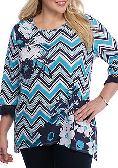 Alfred Dunner Plus Scenic Route Zigzag Print Knit Top