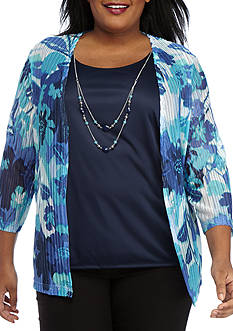 Alfred Dunner Plus Scenic Route Floral Knit 2fer