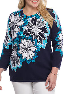 Alfred Dunner Plus Scenic Route Large Floral Knit
