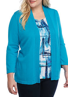 Alfred Dunner Plus Scenic Route Brushstroke Top and Sweater 2Fer