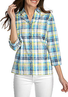 Alfred Dunner Petite Scenic Route Burnout Plaid Button Front Woven Top