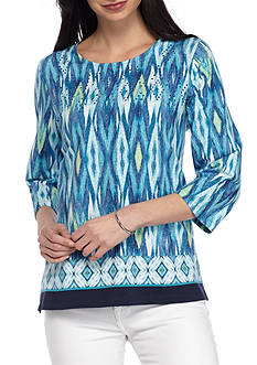 Alfred Dunner Petite Scenic Route Ikat Border Knit Top