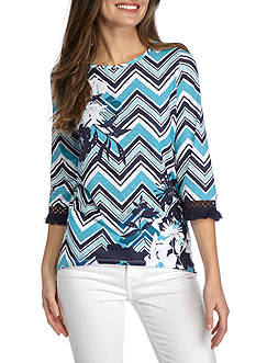 Alfred Dunner Petite Scenic Route Zig Zag Print Knit Top