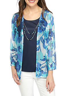 Alfred Dunner Petite Scenic Route Floral Herringbone Top