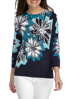 Alfred Dunner Petite Scenic Route Large Floral Knit Sweater