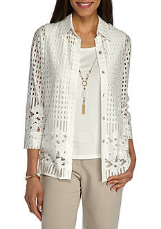 Alfred Dunner Ladies Who Lunch Lace Border 2Fer Woven Top