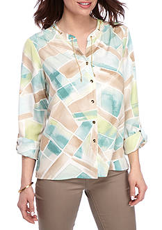 Alfred Dunner Ladies Who Lunch Stained Glass Woven Top