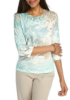 Alfred Dunner Ladies Who Lunch Explore Floral Knit Top