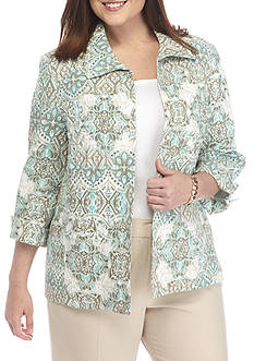 Alfred Dunner Plus Ladies Who Lunch Crinkle Jacket
