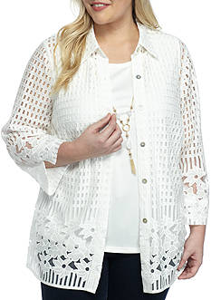 Alfred Dunner Ladies Who Lunch 2Fer Burn Lace Border Top